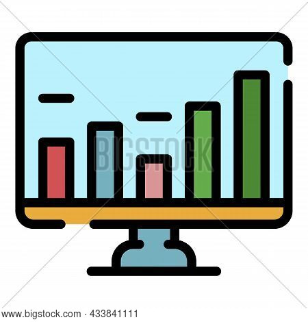 Finance Online Chart Icon. Outline Finance Online Chart Vector Icon Color Flat Isolated