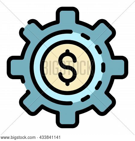 Finance Money Gear Icon. Outline Finance Money Gear Vector Icon Color Flat Isolated