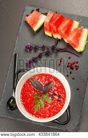 Watermelon Gazpacho, Traditional Spanish Summer Cold Soup