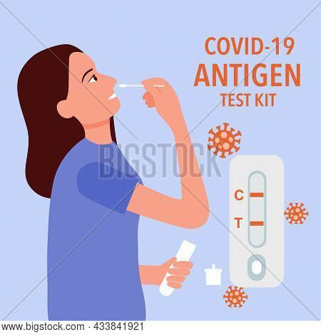 Woman Using Covid-19 Antigen Rapid Test Kit For Checking Coronavirus Concept Vector Illustration.