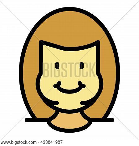 Cute Smile Woman Overweight Icon. Outline Cute Smile Woman Overweight Vector Icon Color Flat Isolate