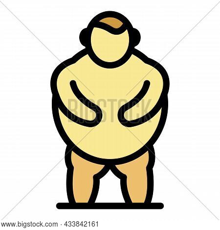 Man Obesity Icon. Outline Man Obesity Vector Icon Color Flat Isolated