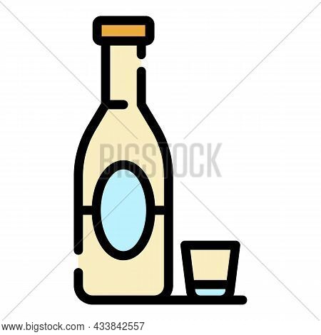 Alcohol Addiction Icon. Outline Alcohol Addiction Vector Icon Color Flat Isolated