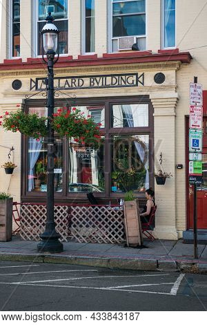 Sleepy Hollow, New York - September 18: Picturesque Storefronts With Outdoor Dining On September 18