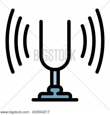 Tuning Fork Device Icon. Outline Tuning Fork Device Vector Icon Color Flat Isolated