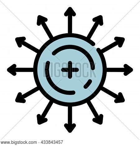 Direction Of Electron Motion Icon. Outline Direction Of Electron Motion Vector Icon Color Flat Isola