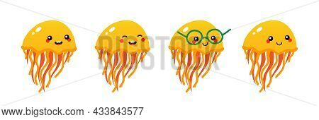 Set, Collection Of Cute And Smiling Cartoon Style Yellow Jellyfish Characters For Sea Life Design.