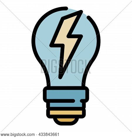 Light Bulb With Lightning Icon. Outline Light Bulb With Lightning Vector Icon Color Flat Isolated