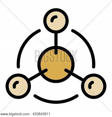 Ion Model Icon. Outline Ion Model Vector Icon Color Flat Isolated