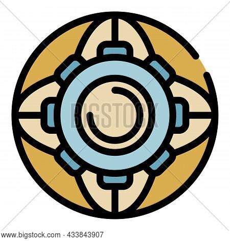 Gear Wheel Icon. Outline Gear Wheel Vector Icon Color Flat Isolated