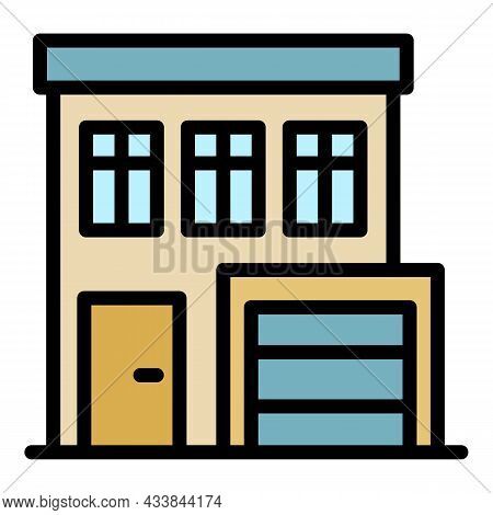 House With Garage Icon. Outline House With Garage Vector Icon Color Flat Isolated