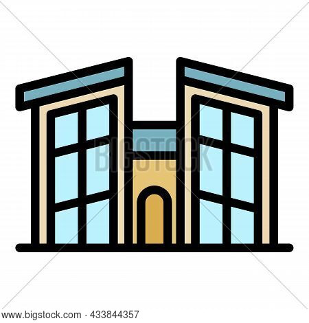 House With High Windows Icon. Outline House With High Windows Vector Icon Color Flat Isolated