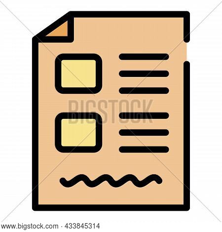 Test Form Icon. Outline Test Form Vector Icon Color Flat Isolated