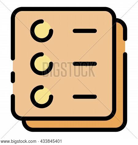 Examination Form Icon. Outline Examination Form Vector Icon Color Flat Isolated