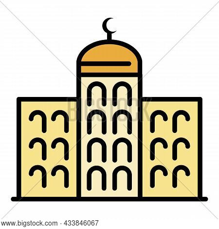 Arabic Building Icon. Outline Arabic Building Vector Icon Color Flat Isolated