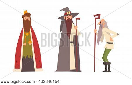 Medieval King In Mantle With Crown On His Head And Old Man With Cane Vector Set
