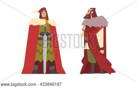 Medieval Nobleman In Mantle With Sword Vector Set