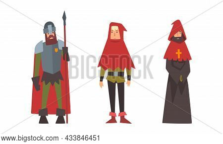 Medieval Knight With Spear And Priest In Hood Vector Set