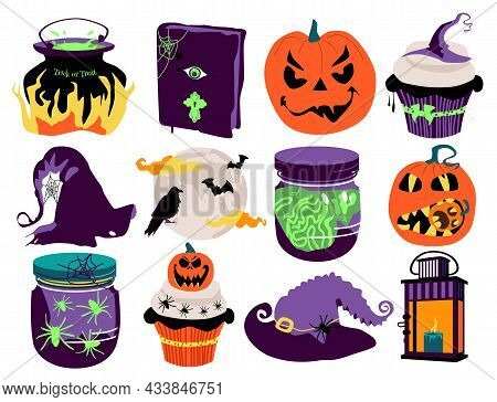 Halloween Vector Set With Tradition Symbols.day Of The Dead.night Party Invitation Or Greeting Card.
