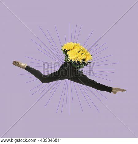 Contemporary Art Collage, Design. Inspiration, Idea, Imagination, Magazine Style. Male Graceful Ball
