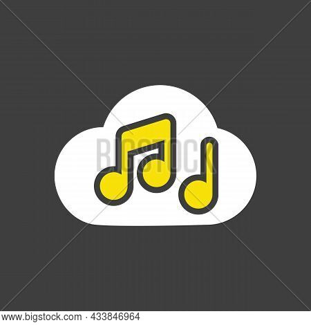 Music Note Cloud Sound Vector Glyph Icon On Dark Background. Music Sign. Graph Symbol For Music And
