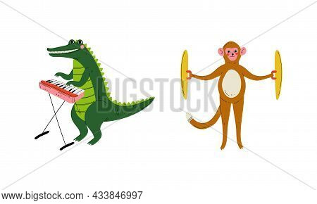 Funny Crocodile And Monkey Character Playing Cymbal And Keyboard Performing Concert Vector Set