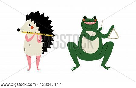 Funny Hedgehog And Frog Character Playing Triangle And Flute Performing Concert Vector Set