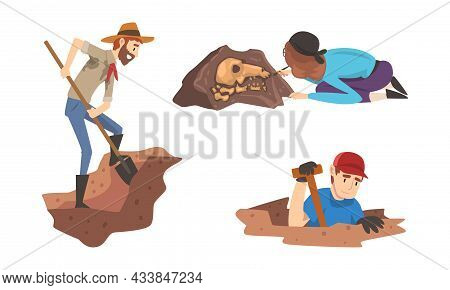 Man And Woman Archaeologist With Shovel Searching For Material Remains Vector Set