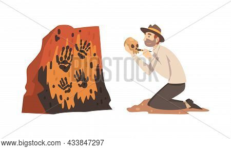 Man Archaeologist With Brush Searching For Material Remains Vector Set