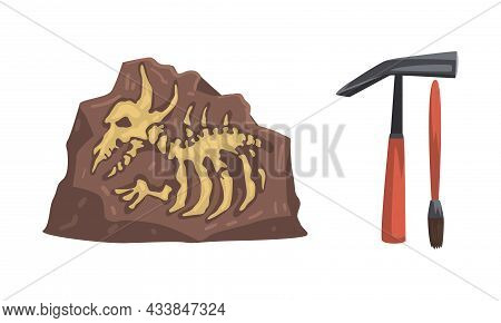 Archeology And Paleontology Ancient Artifacts With Animal Bones And Tools Vector Set