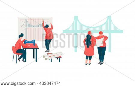 Man And Woman Architect Designing Project And Blueprint For Building Construction Vector Set