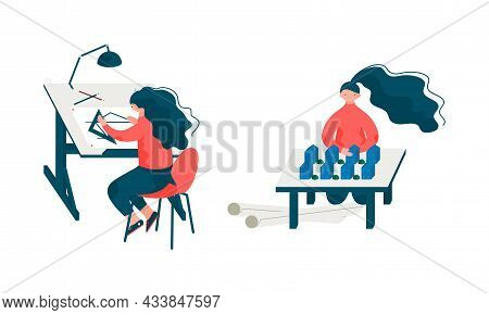 Woman Architect At Table Designing Project And Blueprint For Building Construction Vector Set