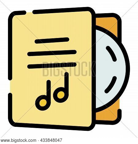 Cd With Case Icon. Outline Cd With Case Vector Icon Color Flat Isolated