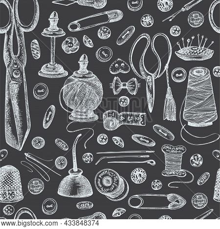 Seamless Pattern With Chalk Hand-drawn Vintage Sewing Tools On Chalkboard Scissors, Buttons, Threads