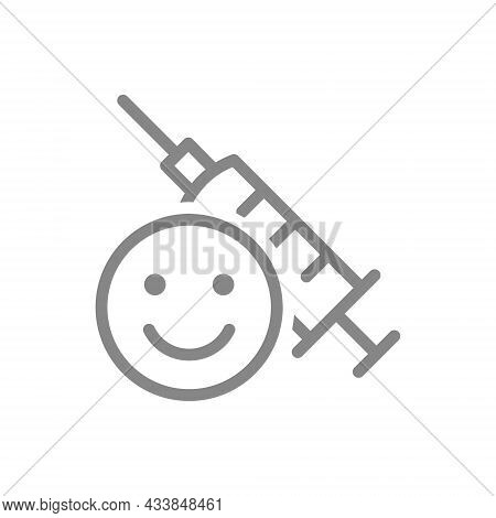 Medical Syringe And Happy Face Line Icon. Vaccination, Vaccine Evaluation, Immunity, Positive Feedba