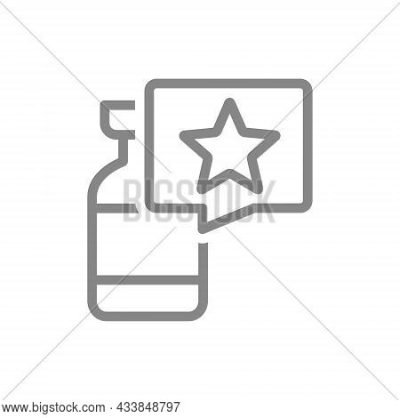 Medical Ampoule And Speech Bubble With Star Line Icon. Vaccine, Serum, Vaccination Information, Immu