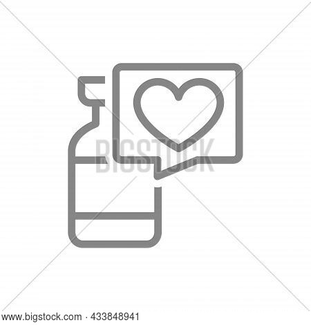 Medical Ampoule And Speech Bubble With Heart Line Icon. Vaccine, Serum, Vaccination Information, Imm