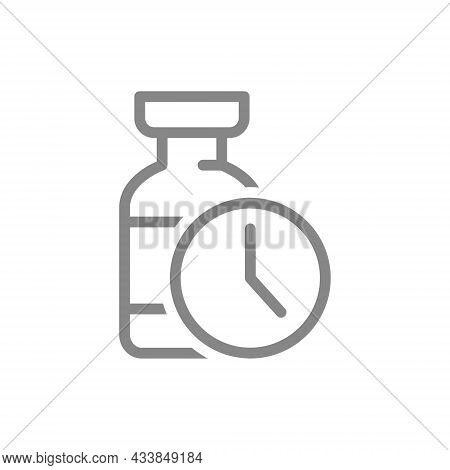 Medical Ampoule And Watch Line Icon. Vaccination Time, Serum, Collective Immunity Symbol