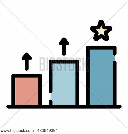 Rising Rating Chart Icon. Outline Rising Rating Chart Vector Icon Color Flat Isolated