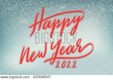 2022 Happy New Year. Winter Background With Happy New Year Wishes For Flyer, Poster, Calendar Header