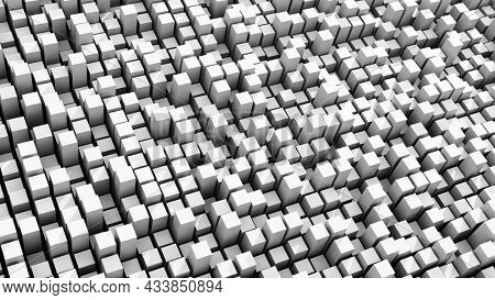 Data fluctuation, dispersion concept. Peaks of white cubic bars rising and filling screen. 3D illustration, 3D rendering.