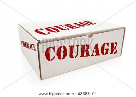 White Box with the Word Courage on the Sides Isolated on a White Background.
