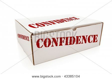White Box with the Word Confidence on the Sides Isolated on a White Background.