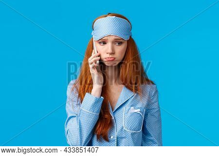 Sulky And Gloomy Upset Cute Silly Redhead Girl Calling Girlfriend Talking About Problems, Had Bad Dr