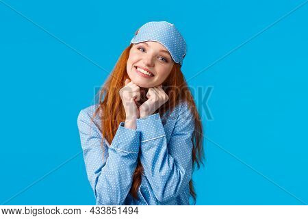 Tender, Feminine Redhead Woman With Toothy Beautiful Smile, Tilt Head Holding Arms Near Face Lovely