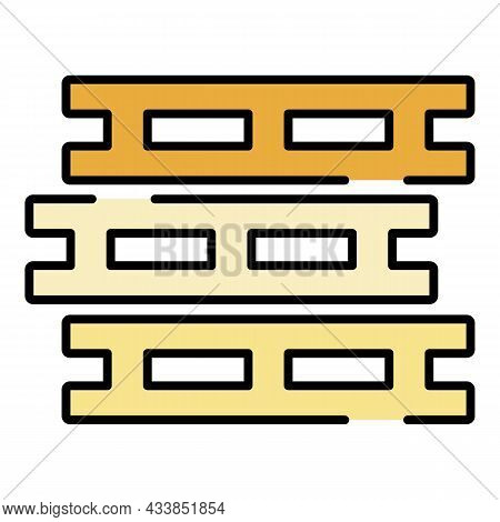 Pallet Stack Icon. Outline Pallet Stack Vector Icon Color Flat Isolated