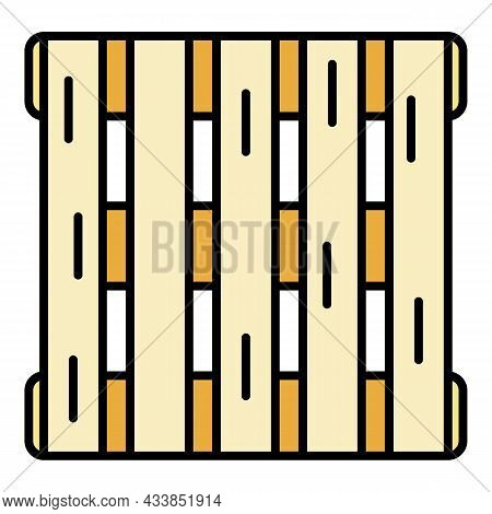 Factory Pallet Icon. Outline Factory Pallet Vector Icon Color Flat Isolated
