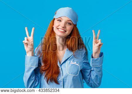 Silly And Cute Young Redhead Caucasian Girl In Sleep Mask And Nightwear, Wearing Lovely Pyjama Feeli