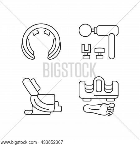 Vibrating Massagers Linear Icons Set. Devices For Neck, Feet Stimulation. Body Treatment And Recreat