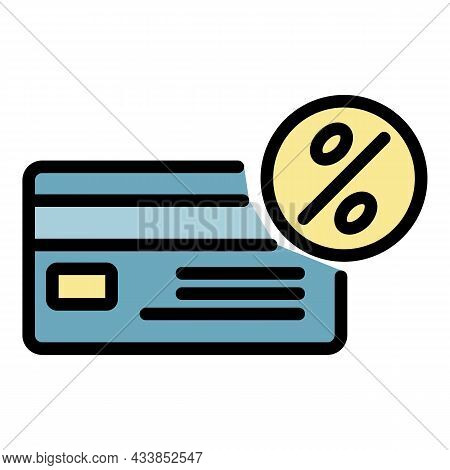 Leasing Credit Card Icon. Outline Leasing Credit Card Vector Icon Color Flat Isolated